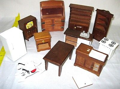 Lot of (11) Miniature Wooden Toy Doll Set House Furniture