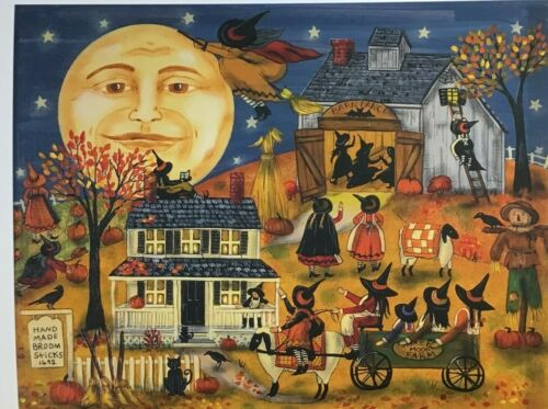 """New England Witch Village Scene """"Witches Broom Shop"""" Print"""