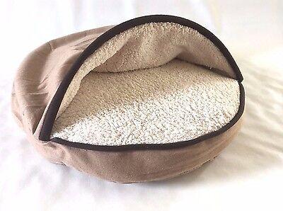 "NEW DETAILS Luxury Round Dog & Cat Cave Bed Small, Beige/Cream 25""*4"""