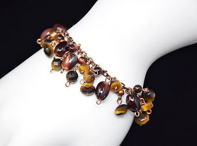 Antiqued Bronze Bracelet With Natural Golden & Red Tiger's Eye Gemstone Charms  Red Golden Tigers Eye