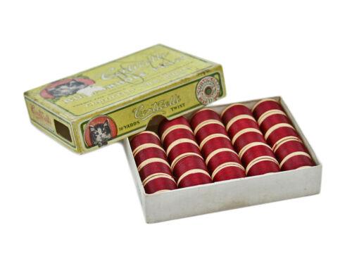 17 CORTICELLI 1065 Buttonhole Twist Cardinal Silk Thread Spool Kitten Box RARE
