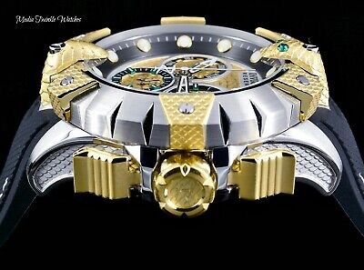 NEW Invicta Reserve 52mm Venom Viper Swiss Quartz Silver & Gold Strap Watch