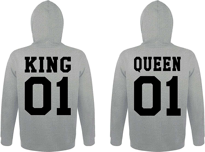 "Partner Hoodies Set ""KING & QUEEN"" Pärchen Pullover King Queen mit Wunschzahl"