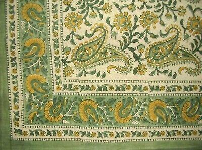 "Block Print Rajasthan Paisley Square Cotton Tablecloth 60"" x 60"" Green"