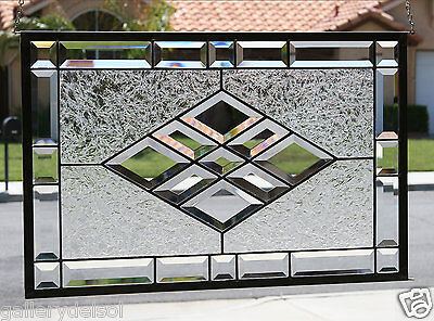 BEVELED DIAMONDS - Large Clear Stained Glass Window Panel, Bevels, Stain Glass
