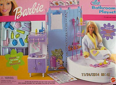 Barbie All Around Home Bathroom Playset w/Bath Tub Sink Shower Attachment 2001 (Barbie Shower)