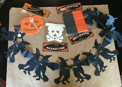 BETHANY LOWE Halloween VTG Crepe Paper Garlands x4 witch,pumpkin,skeleton&ribbon