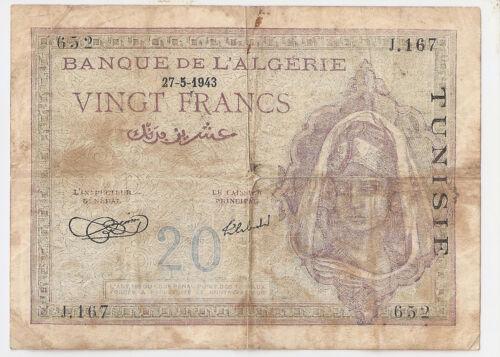 Tunisia 20 francs 27.5.1943