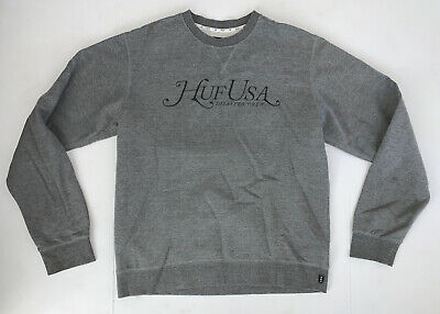 Men's HUF Crewneck Sweatshirt Size XL Gray Skateboard Streetwear