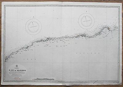 1867-70 ALGERIA ORAN ALGIERS VINTAGE ADMIRALTY CHART MAP