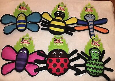Bug Buddies Durable Plush Dog Chew Toy with Squeaker You Choose Insect Type NEW