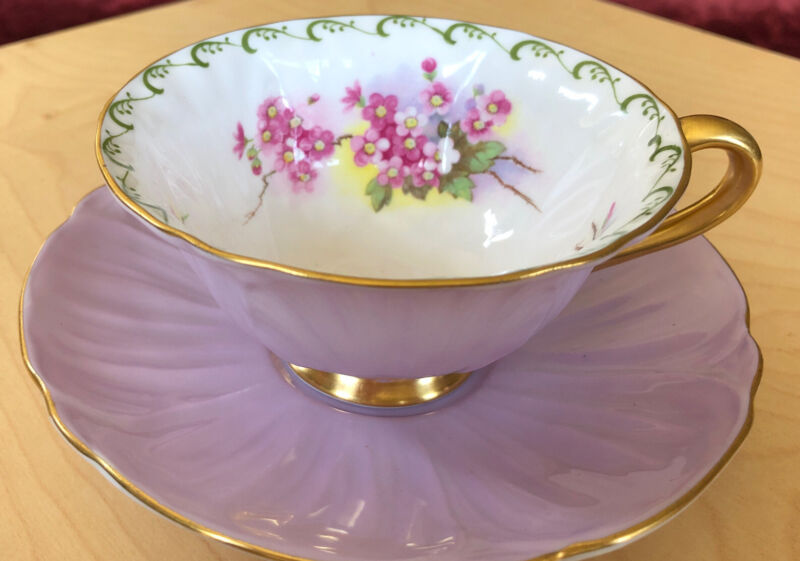 Shelley Oleander Maytime Blossoms Lavender Cup And Saucer