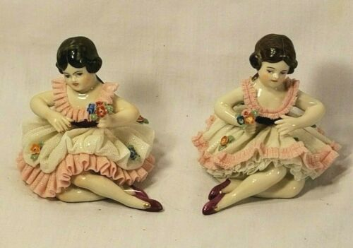 Vintage Frankenthal Dresden Ballerina Figurine x2 (Lot of 2)