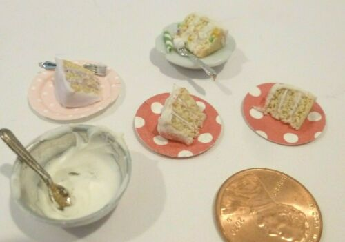 DOLLHOUSE MINIATURE CAKE SLICES ON A PLATE SET OF 4 AND A BOWL OF FROSTING