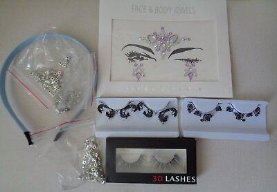 Job lot 8 items tattoo sticker false eyelashes rhinestones No glue with - Eyelashes With Rhinestones