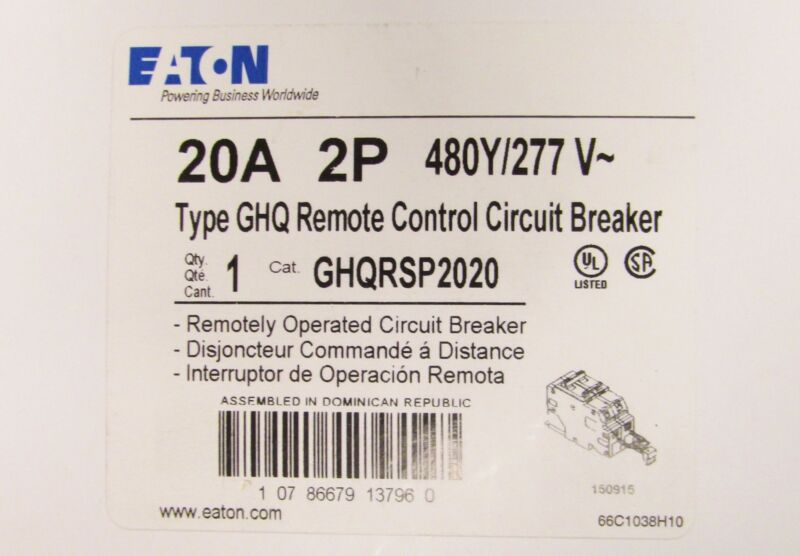 EATON CUTLER HAMMER GHQ Remote Control Circuit Breaker 2 Pole 20 Amp GHQRSP2020