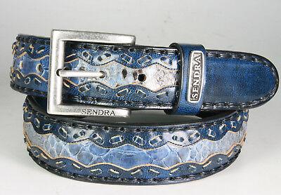 Denver Leder Gürtel (8347 Sendra Gürtel Denver Azul Dirty Python Blau Wechselgürtel)