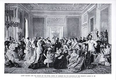 1911 PRINT ~ QUEEN VICTORIA & ROYAL FAMILY WINDSOR CASTLE ON HER JUBILEE 1887