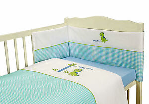 Baby Boy Blue Cot Bedding Set Gingham Check Dinosaur Embroidered Design 3 Pce