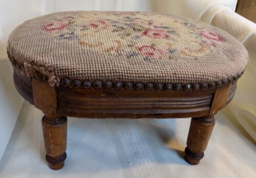 Antique Floral NEEDLEPOINT FOOT STOOL Wood Base Turned Legs