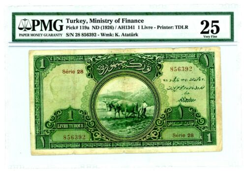 Turkey … P-119a … 1 Livre … ND(1926) … *VF*. PMG 25.