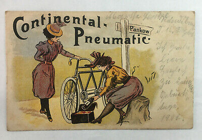 1902 German Advertising Postcard CONTINENTAL-PNEUMATIC Bicycle Tires vtg