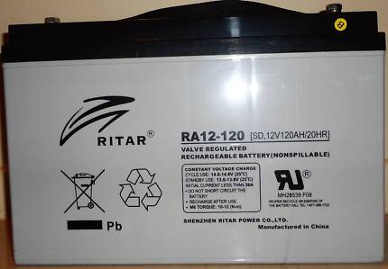 Ritar RA12-120, 120AH valve regulated reachargeable AGM battery