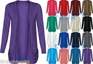 Womens-Long-Sleeves-Drop-Pocket-Boyfriend-Cardigan-Ladies-Open-Casual-Tops-8-14