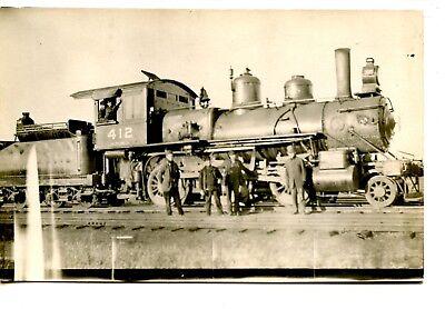 (Men by Track & Railroad Train Engine 412-RR-RPPC-Vintage Real Photo Postcard )