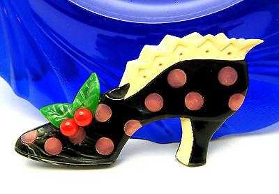 Adorable Brad Elfrink Carved Bakelite Ladies Shoe Brooch 2006 Dated  on Lookza