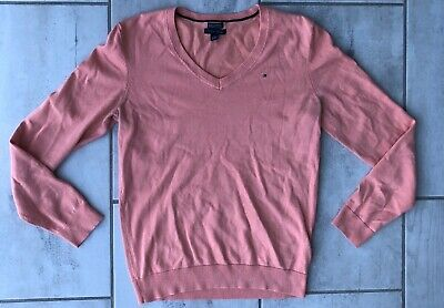 Tommy Hilfiger Pima Cotton Blend Pink V-Neck Sweater Long Sleeve Size Medium