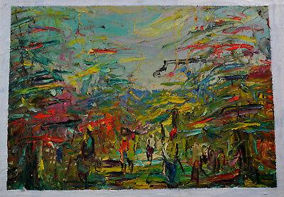Ölbild,Afrikanische Malerei, Personen auf dem Marktplatz,1963,Afrika,weißer Rand