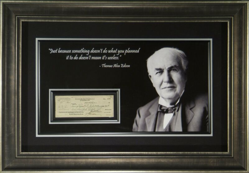 Thomas Edison Autographed Check Display
