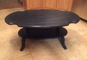 Navy blue solid wood coffee table