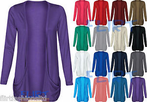 Womens-Drop-Pocket-Boyfriend-Open-Cardigan-Top-Ladies-Plus-SizeUK-16-18-20-22-24