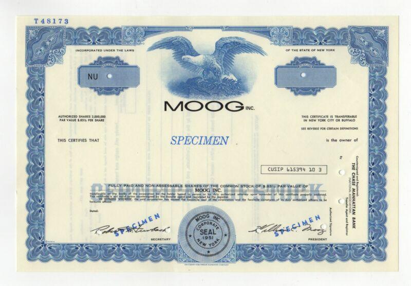 SPECIMEN - Moog Inc. Stock Certificate