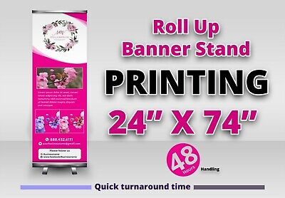 24x74 Custom Printing Roll Up Retractable Banner Stand Trade Show Display