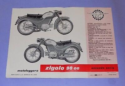 * VERY RARE * ORIGINAL * 1950's * MOTO GUZZI  * ZIGOLO 98 cc SALES HANDBILL *