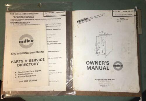Miller Electric Welder~Millermatic 200~SKP-35~Operators Manual~Papers~Original