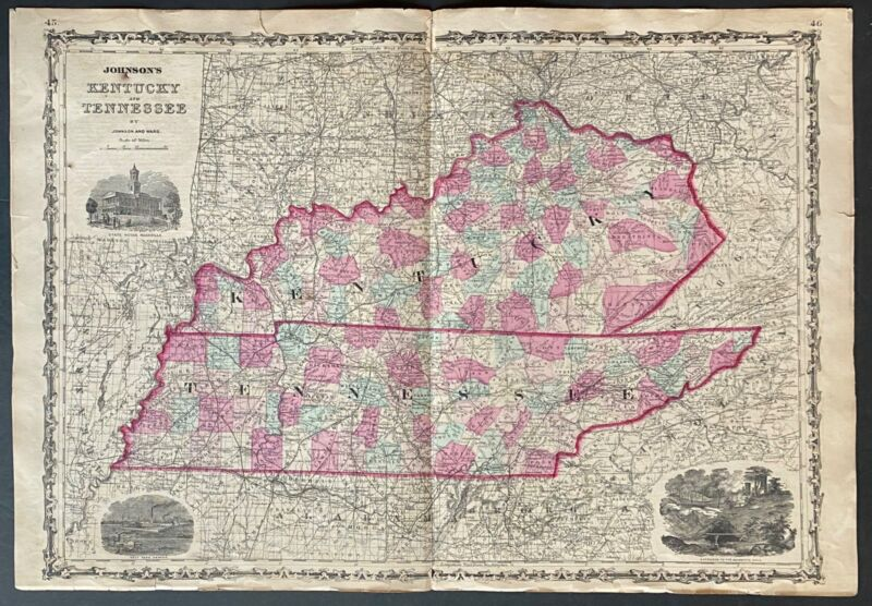 Hand colored map Kentucky & Tennessee Johnson and Ward 1863
