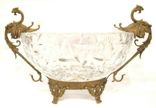 ANTIQUE FIGURAL CUT CLEAR GLASS BRONZE GARGOYLE DRAGON GRIFFIN BOWL CENTERPIECE