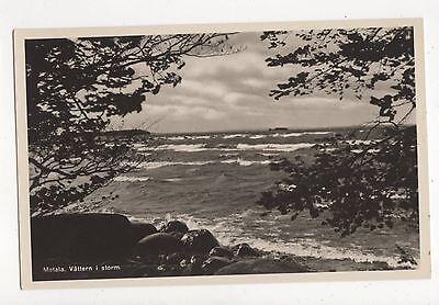 Motala Vattern i Storm Sweden Vintage RP Postcard 349a