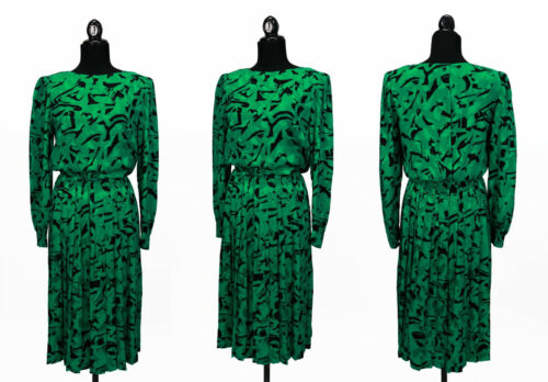 Vintage 1980s Green and Black Adrianna Papell Secretary Silk Dress Size S