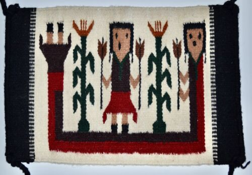 Vintage Small Native American Navajo Yei Hand Made Wool Corn Rug Blanket