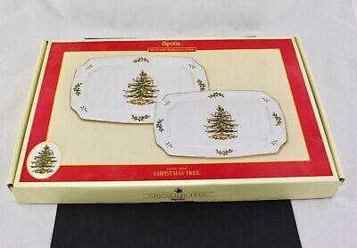 SET OF 2 SPODE CHRISTMAS TREE RECTANGULAR PLATTERS - NEW ()
