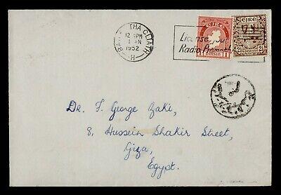 DR WHO 1952 IRELAND DUBLIN SLOGAN CANCEL TO EGYPT CENSORED? g19753