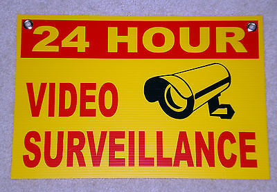 1 24 Hour Video Surveillance Coroplast Sign 12x18 Wgrommets New - Security