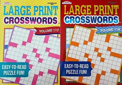2 Large Print Crosswords (Kappa) Puzzle and Activity Books Volumes 117-118