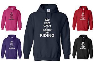 NEW-ADULT-NAVY-HOODY-KEEP-CALM-AND-CARRY-ON-RIDING-S-M-L-XL-XXL