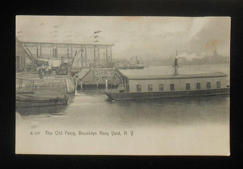 1908 The Old Ferry Brooklyn Navy Yard Steam Crane Horses Ships Barge Brooklyn NY